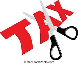 Scissors cut unfair too high Taxes - Pair of scissors cuts...