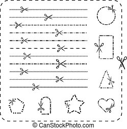 Scissors cutout line icons. Vector dashed and dotted cutting paper lines for design