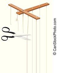 Scissors Cuts Strings Of Marionette Control Bar - Scissors...