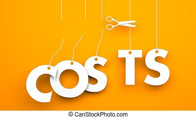 Scissors cuts word COSTS. Conceptual business image