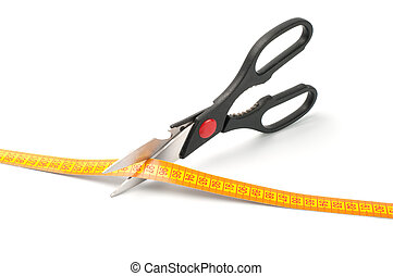 scissors cutting a measuring  on white background