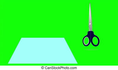 Scissors Cutting a Paper Isolated on Green Screen - Scissors...