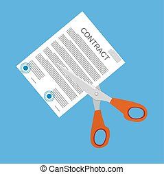 Scissors cutting contract document.