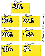 Illustration of scissors cutting yellow coupon with per cent off sign done in retro style.