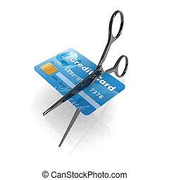 scissors cutting credit card 3d illustration