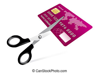 scissors cutting credit card illustration on white
