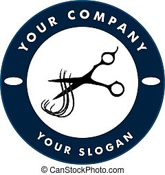 Scissors Cutting Hair Strand, Hair Solon Logo