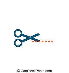 scissors cutting line isolated icon