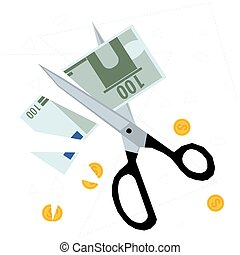 Scissors cutting money - concept of budget cuts