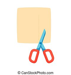 scissors cutting paper flat style icon