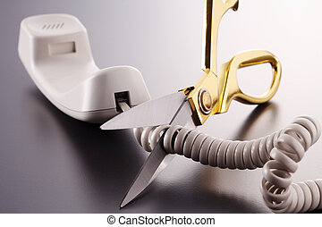 scissors cutting phone cord - Phone cord being cut by...