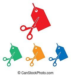 Scissors cutting price tag icon. Vector illustration, flat design. tag