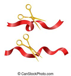 Scissors cutting red long ribbon set vector illustration -...
