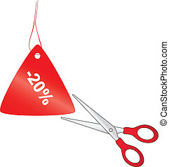 Scissors cutting red price tag