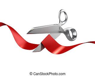 scissors cutting red ribbon 3d illustration