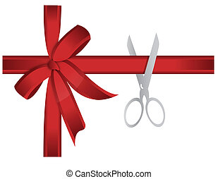 scissors cutting red ribbon illustration concept