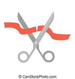 Scissors cutting ribbon.