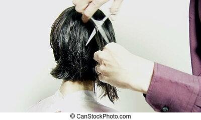 Scissors cutting short hair - Cutting long layers of hair...