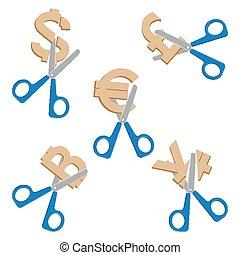 Scissors cutting symbols of currencies on vector illustration