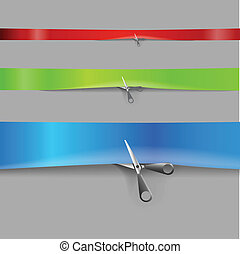 Scissors cutting the color advertising ribbons