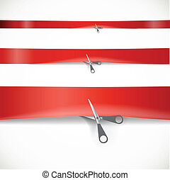 Scissors cutting the red advertising ribbon