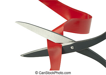 Scissors cutting through red tape as a metaphor or concept for problem solving
