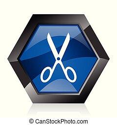 Scissors dark blue glossy hexagon geometric diamond vector web icon with reflection on white background. Modern design hexagonal internet button.