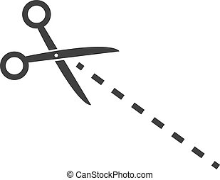 Scissors Dotted Line - Scissors about to cut on dotted line