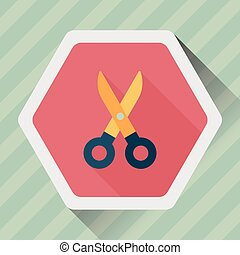 Scissors flat icon with long shadow, eps10