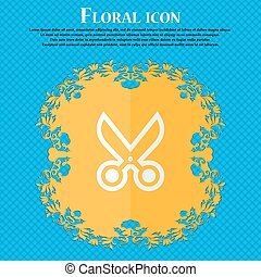 scissors. Floral flat design on a blue abstract background with place for your text. Vector