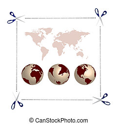 scissors, globes and world map - illustration