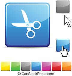 scissors glossy button.