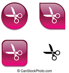 scissors glossy button.