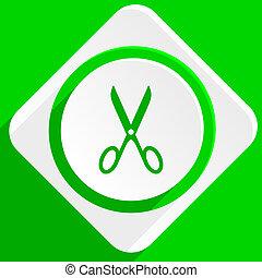 scissors green flat icon
