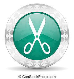 scissors green icon, christmas button, cut sign