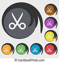 Scissors hairdresser sign icon. Tailor symbol. Symbols on eight colored buttons. Vector