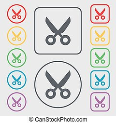 Scissors hairdresser sign icon. Tailor symbol. Symbols on the Round and square buttons with frame. Vector