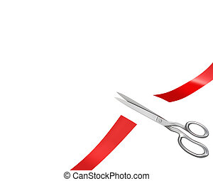 Scissors have cut ribbon, corner version isolated on white...