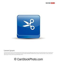 Scissors icon - 3d Blue Button
