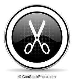 scissors icon, black chrome button, cut sign