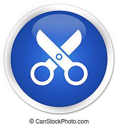 Scissors icon blue button