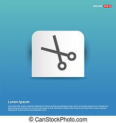 Scissors icon - Blue Sticker button
