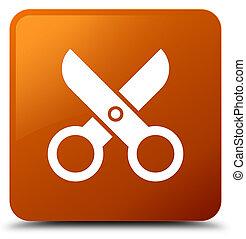 Scissors icon brown square button