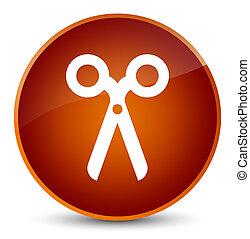 Scissors icon elegant brown round button