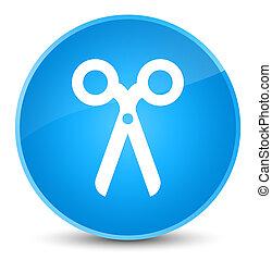 Scissors icon elegant cyan blue round button