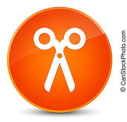 Scissors icon elegant orange round button