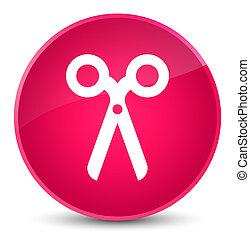 Scissors icon elegant pink round button