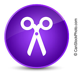 Scissors icon elegant purple round button
