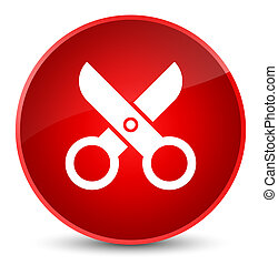 Scissors icon elegant red round button