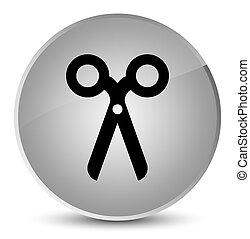 Scissors icon elegant white round button